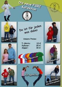 """Bild: """"Die neue FSR2 Kollektion""""; Da ist für jeden was dabei: Unsere Preise: T-Shirts = 10€, Pullover = 25€, Zipper = 30€"""