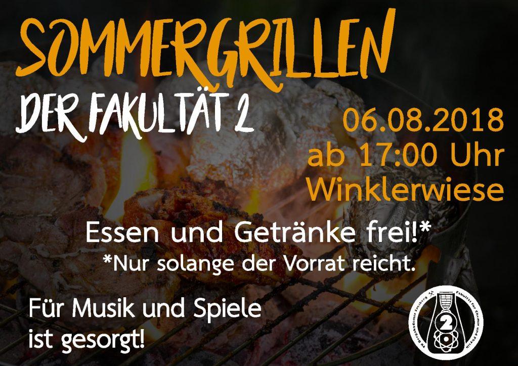Sommergrillen der Fakultät 2; Am 06.08.2018; Start 17 Uhr;Winklerwisese; es gibt kostenlose Getränke und Essen