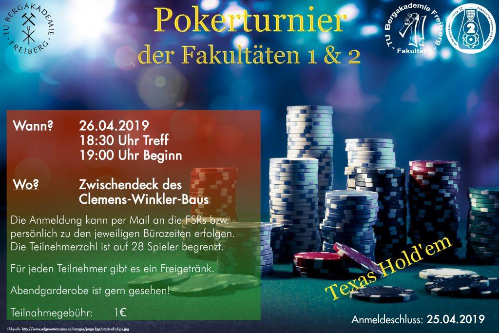 Pokerturnier im Sommersemester 2019; am 26.4.2019; Start 19 Uhr im Zwischendeck des Clemes-Winkler-Baus; Anmeldung per E-Mail