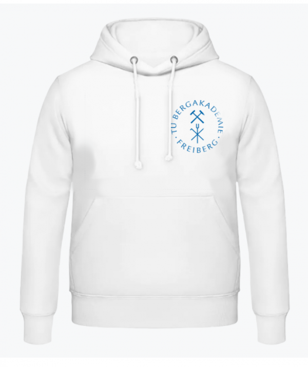Vorderansicht eines weißen Hoodies mit blauem Universitätslogo