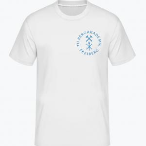 Vorderansicht eines weißen T-Shirts mit blauem Universitätslogo