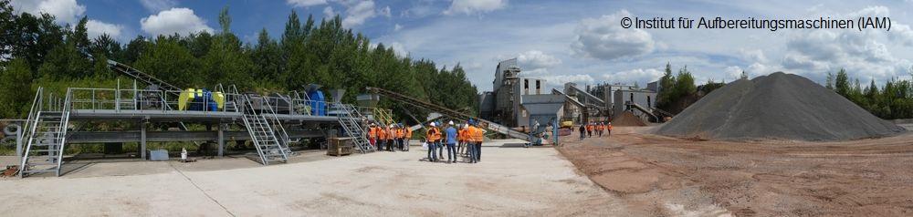 Pilotanlage und Schotter- und Splittaufbereitungsanlage des Instituts für Aufbereitungsmaschinen (IAM) der TU Freiberg