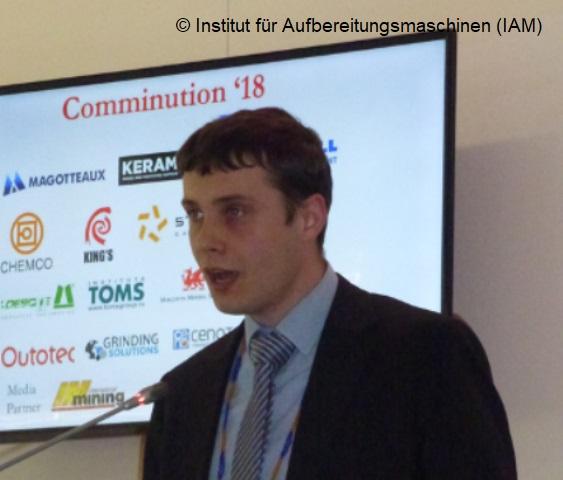 Michael Klichowicz vom Institut für Aufbereitungsmaschinen (IAM) der TU Freiberg beim International Comminution Symposium 2018 in Kapstadt