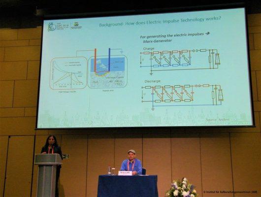"""Margarita Mezzetti referiert zum Thema """"Mikrostrukturelle Untersuchung von komplexen Erzen und deren Aufbereitung mittels elektrischer Impulse"""" beim IMPC im Moskau"""