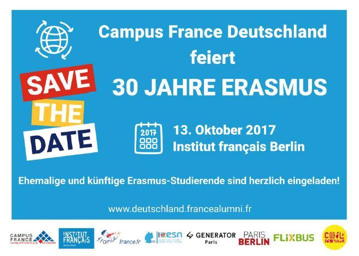 Campus France Deutschland feiert 30 Jahre Erasmus am 13. Oktober 2017 in Berlin (diverse Sponsoren-Logos)