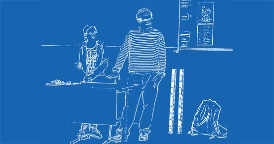 Illustration, Umrisszeichnung, zwei Studierende in einem Klassenzimmer