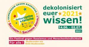 Werbebanner für das Festival gegen Rassismus und Menschenfeindlichkeit vom 14.06. bis 2.7.2021, Farben: Geld, Rot, Grün; die Logos der bundesweiten Organisatoren
