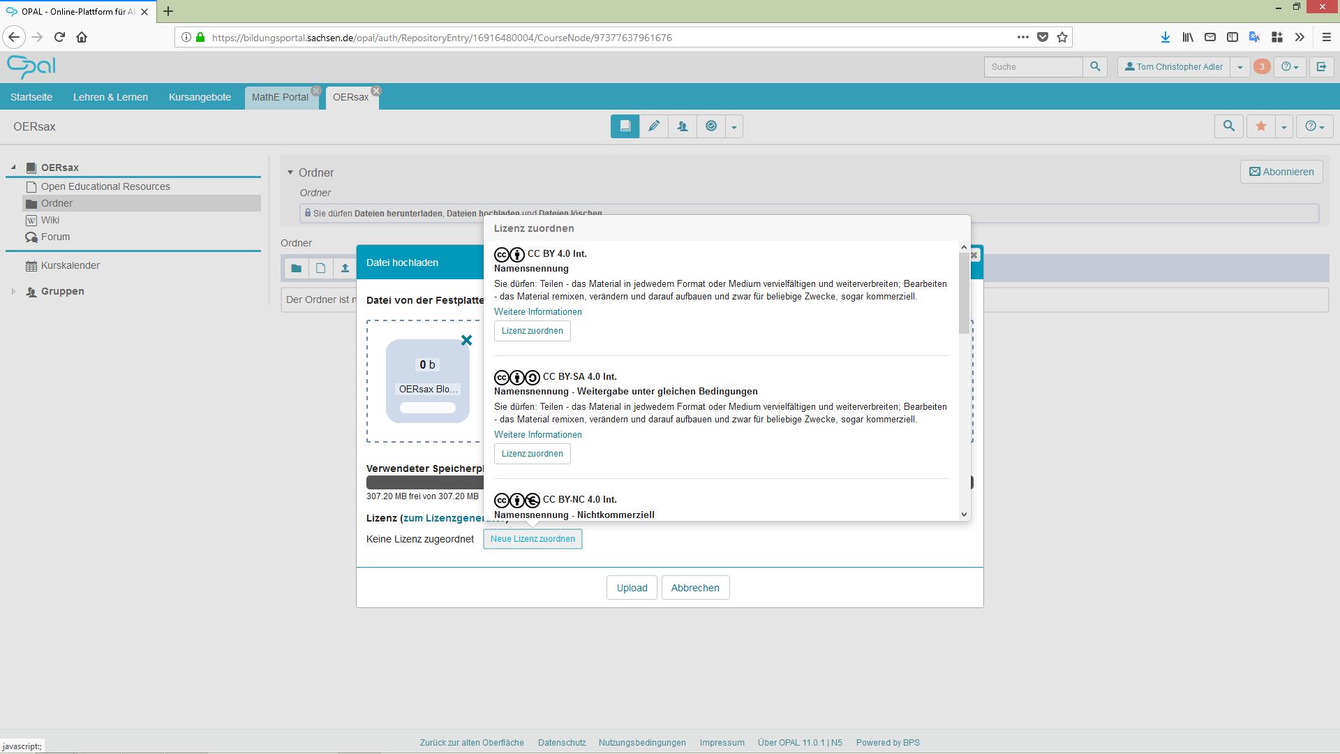 Screenshot zur Lizenzzuordnung