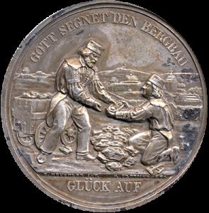 Gedenkmedaille auf die Himmelfahrt samt Abraham Fundgrube und den reichen Erzanbruch vor 150 Jahren, 1997 | © UB Freiberg